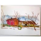 """Ullik """"Rotes Haus mit 3 Bäumen"""""""
