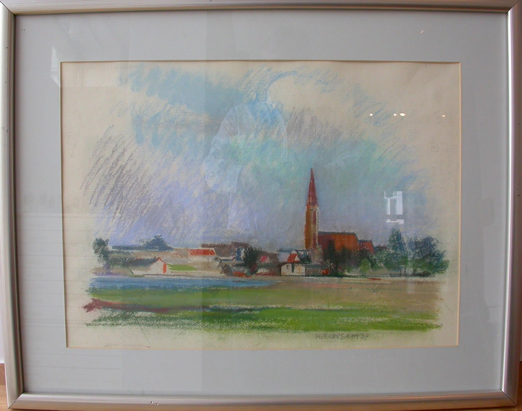 """Gunsam """"Wasserpark mit Donaufelder Pfarrkirche"""""""
