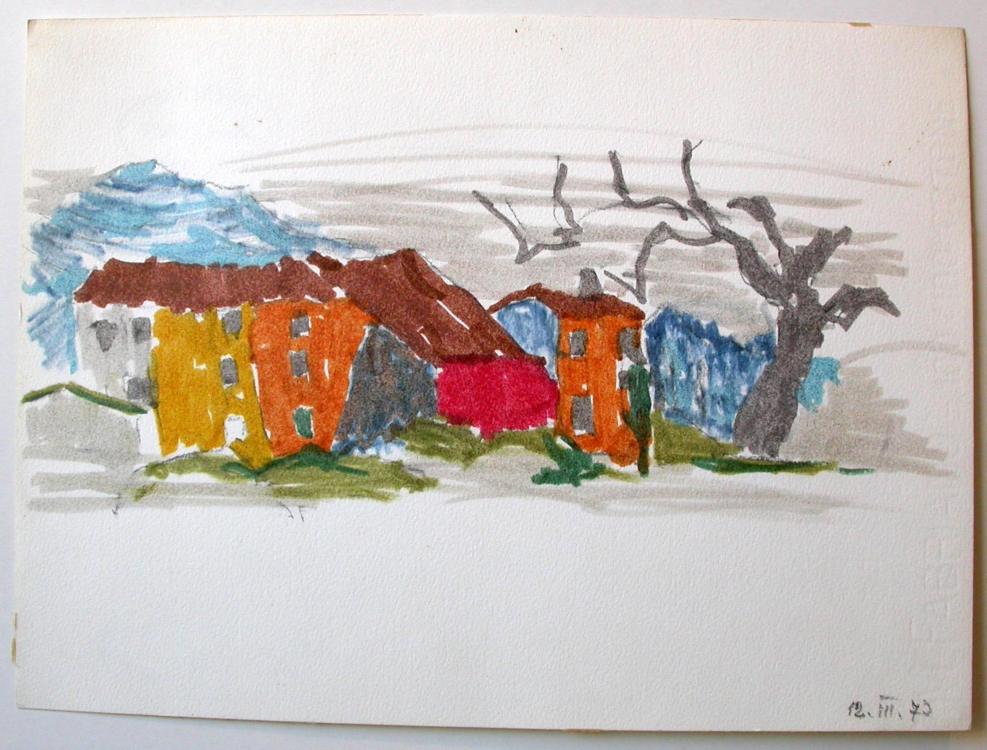 """Ullik """"Häuser mit Baum"""""""