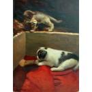 """Schiestl """"Katze beobachtet Hund"""""""
